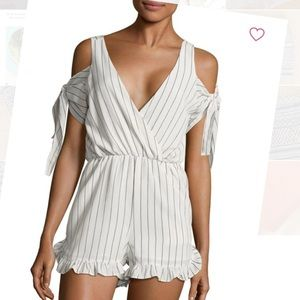 White striped cold shoulder romper tags attached